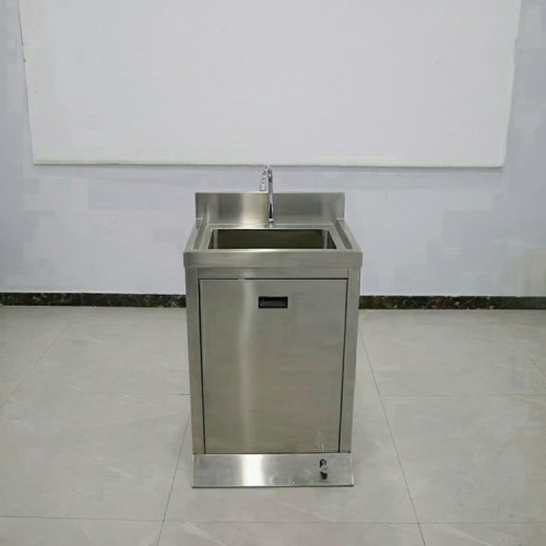 不锈钢单星水池柜式脚踏洗手池