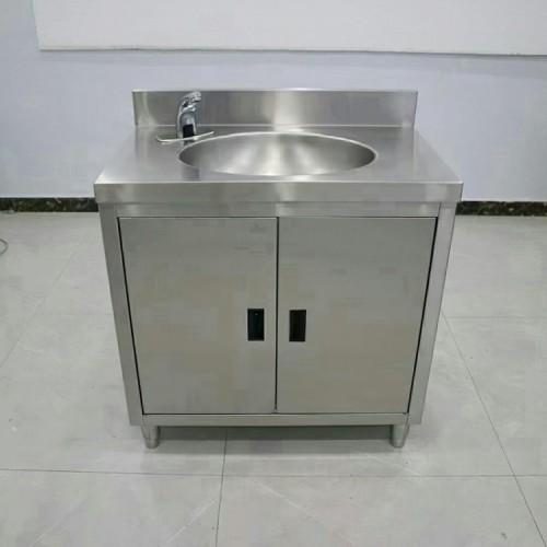 不锈钢单星水池柜式感应洗手池