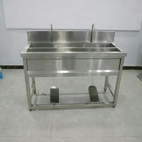 不锈钢双星水池脚踏式洗手池